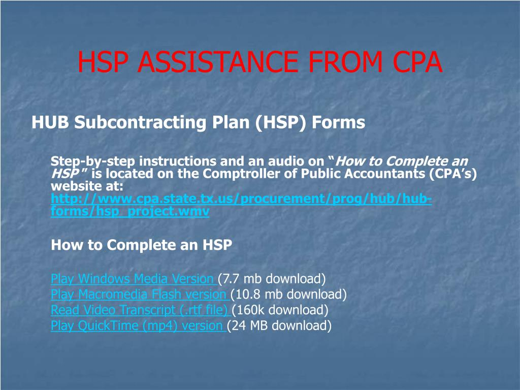 HSP ASSISTANCE FROM CPA
