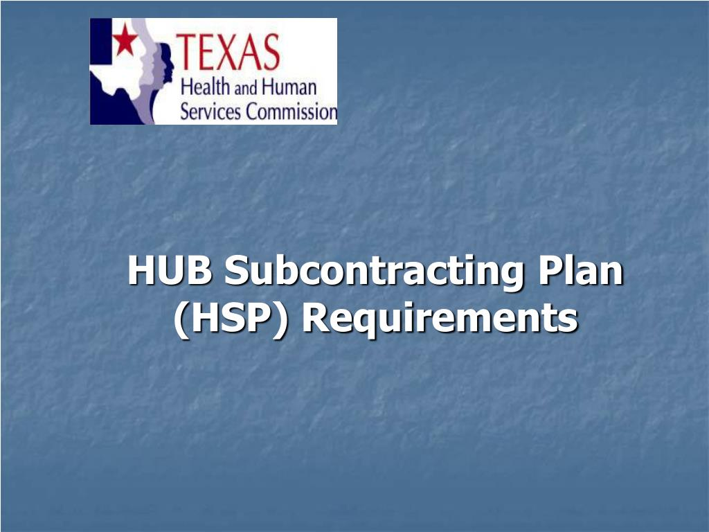 HUB Subcontracting Plan