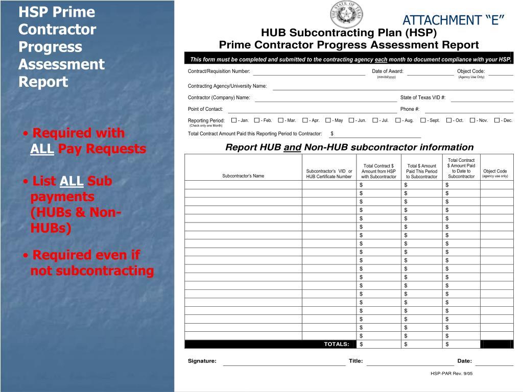 HSP Prime Contractor Progress Assessment Report