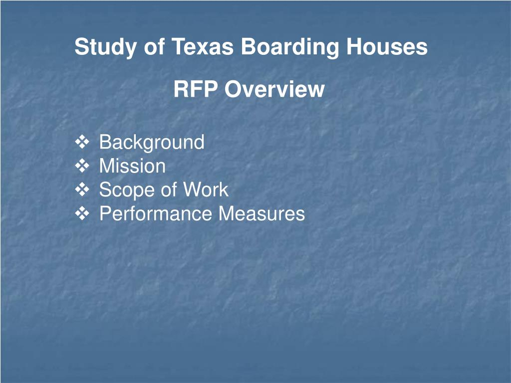Study of Texas Boarding Houses