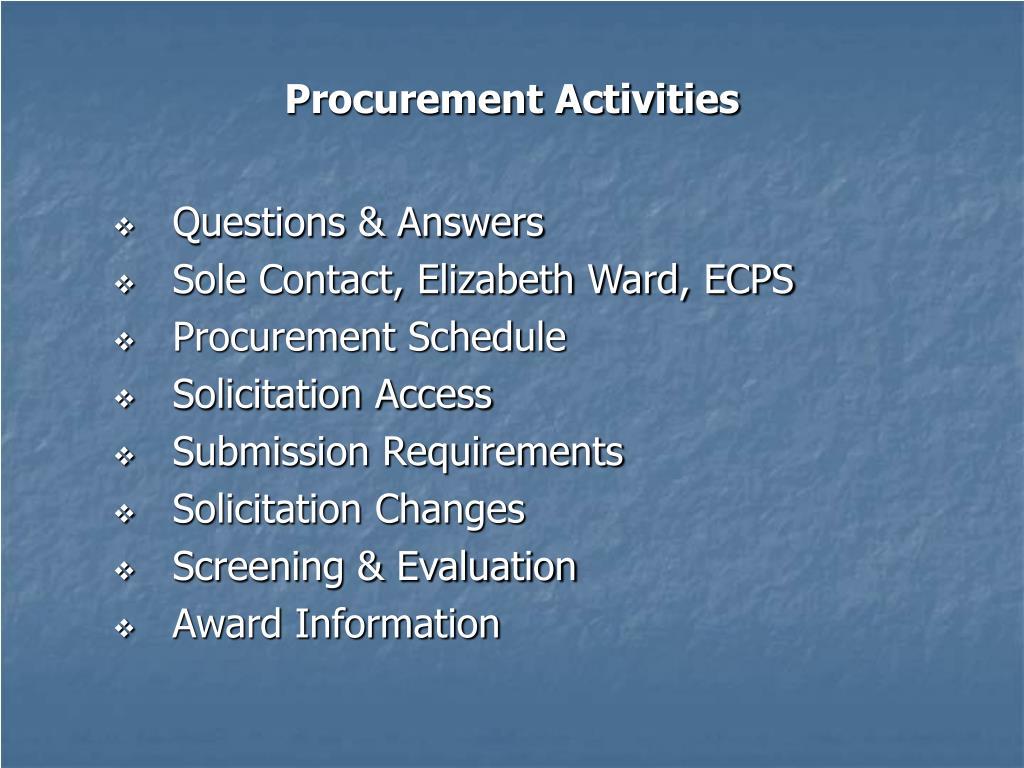 Procurement Activities