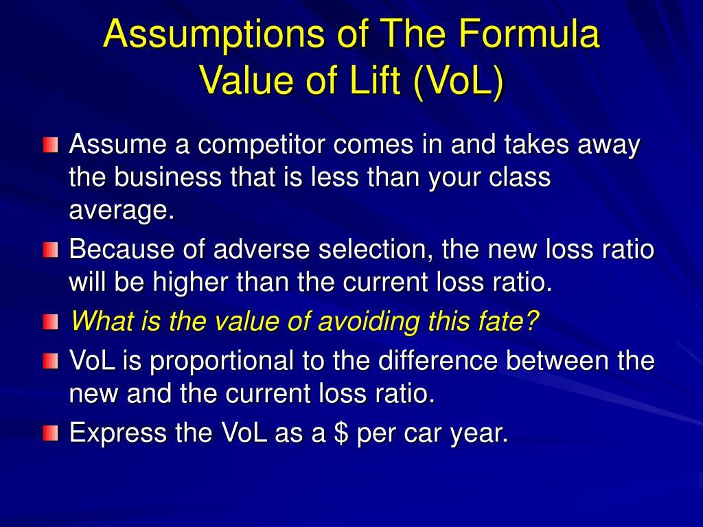 Assumptions of The Formula