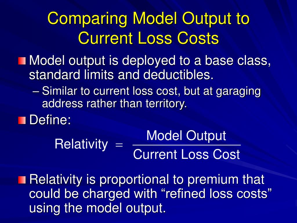 Comparing Model Output to Current Loss Costs