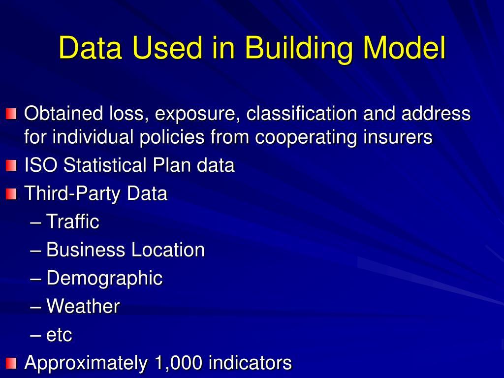 Data Used in Building Model