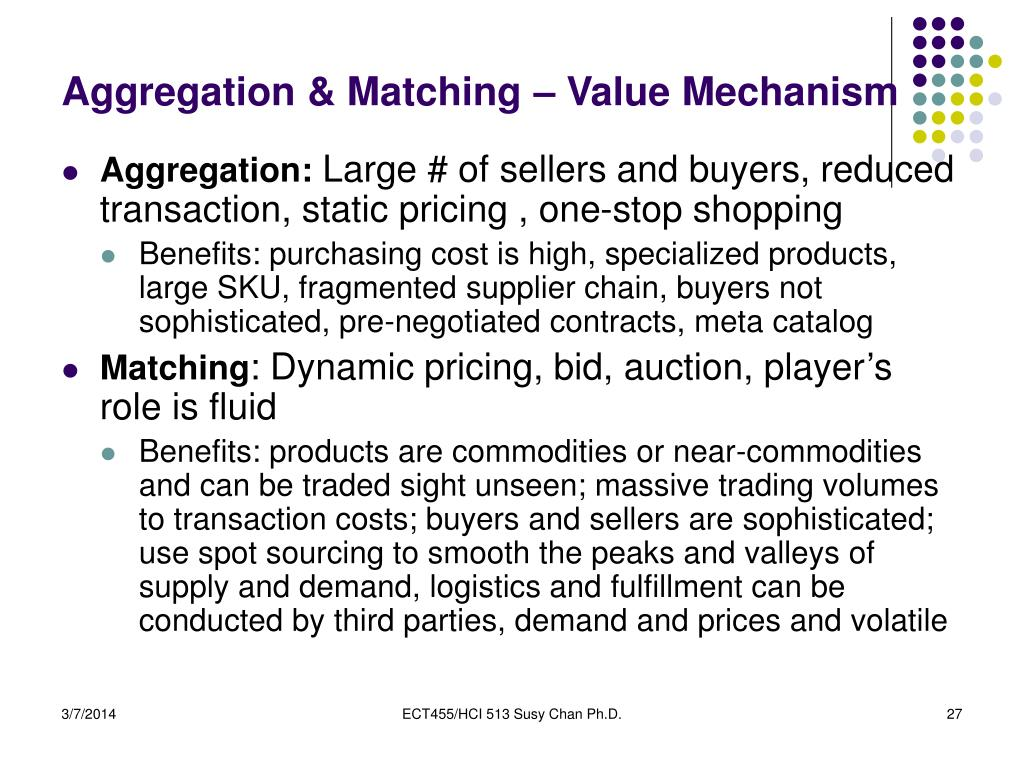 Aggregation & Matching – Value Mechanism