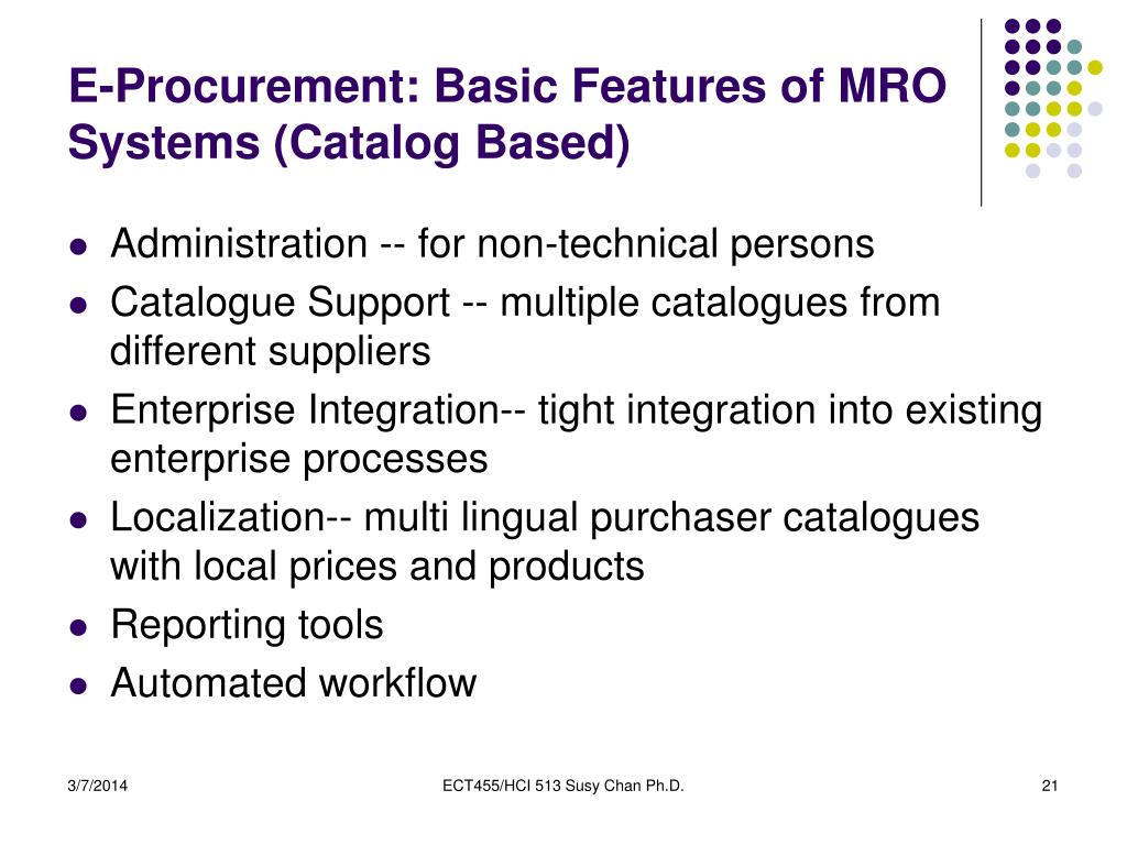 E-Procurement: Basic Features of MRO Systems (Catalog Based)