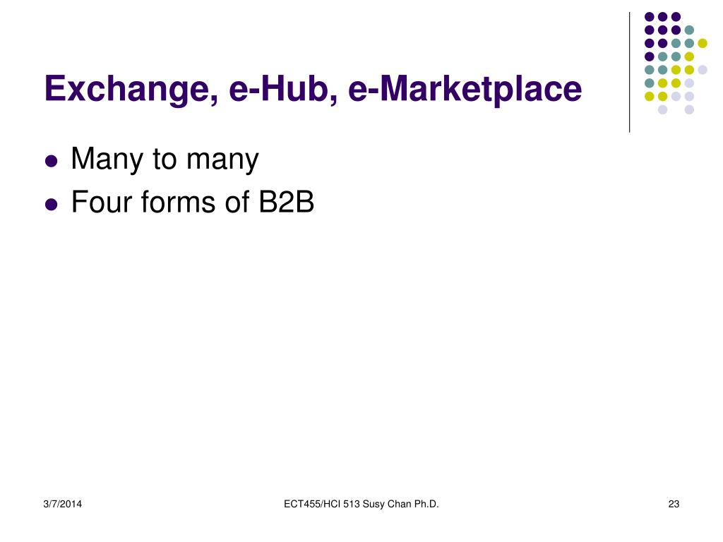 Exchange, e-Hub, e-Marketplace