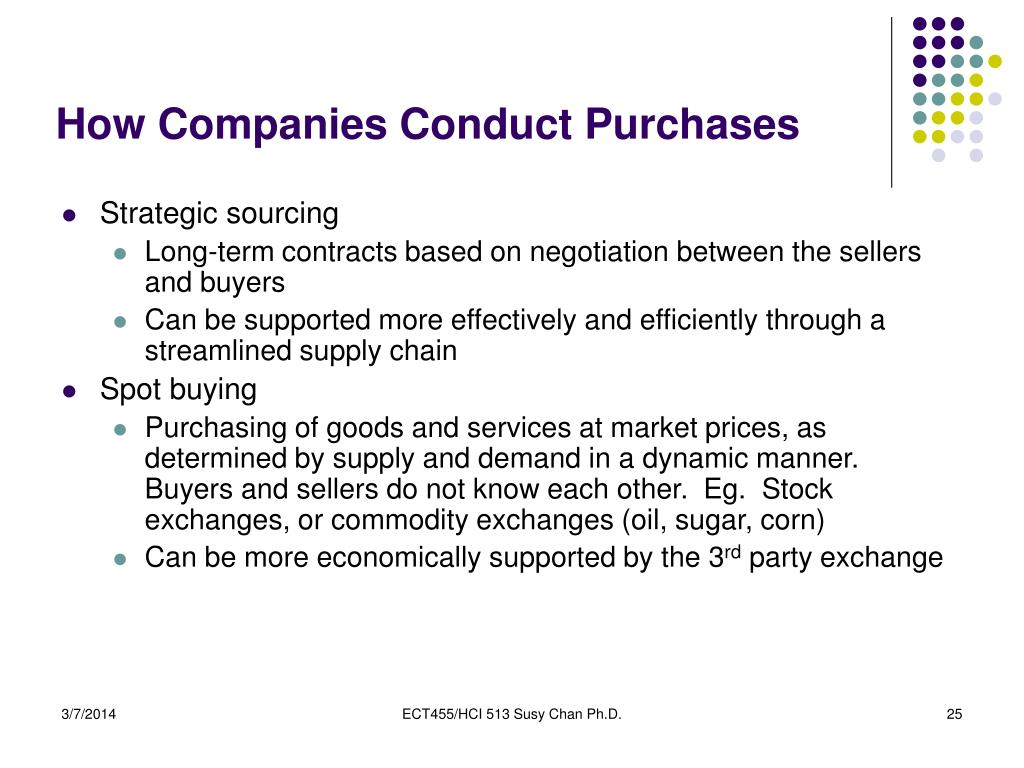 How Companies Conduct Purchases