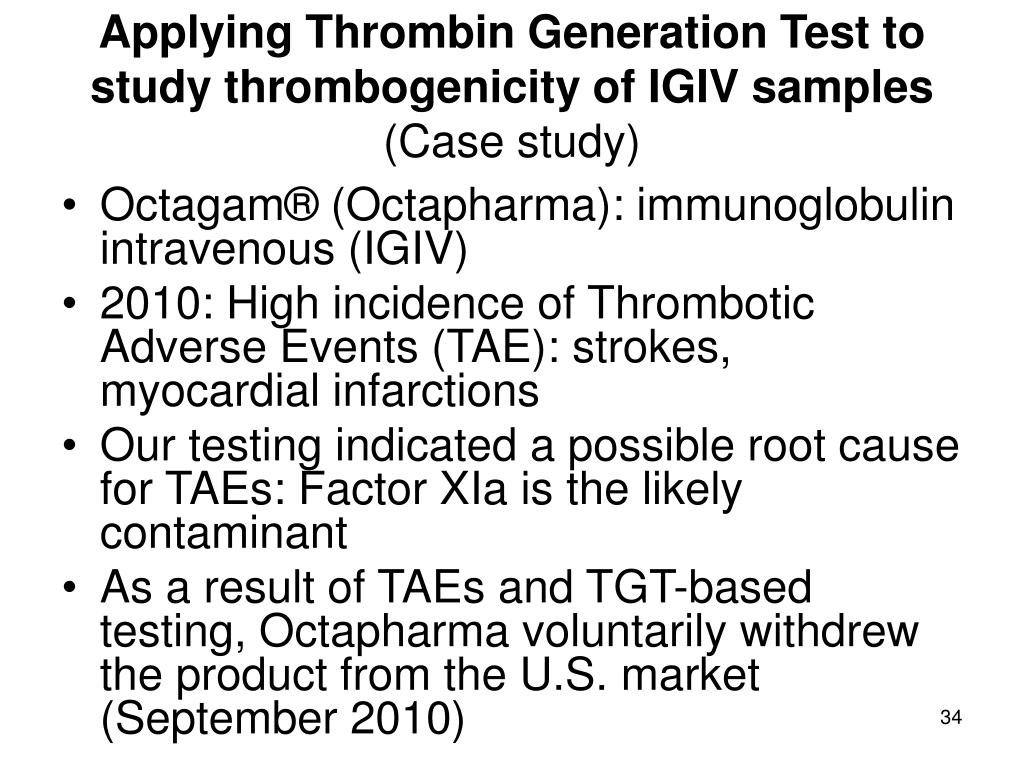 Applying Thrombin Generation Test to study thrombogenicity of IGIV samples