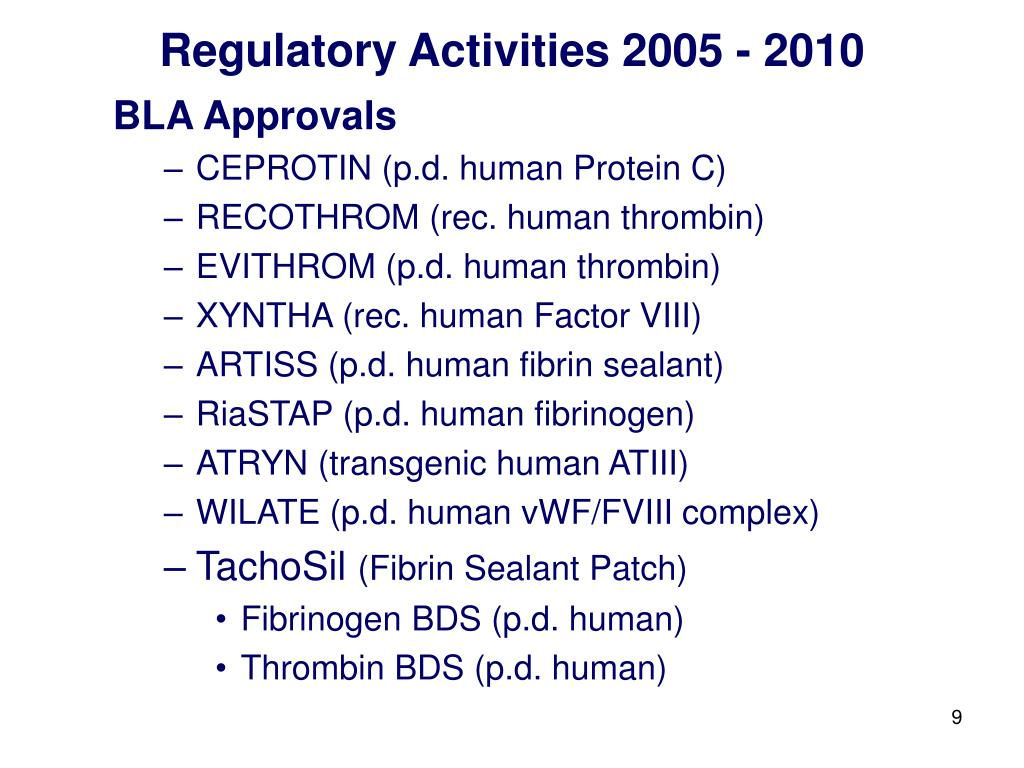 Regulatory Activities 2005 - 2010