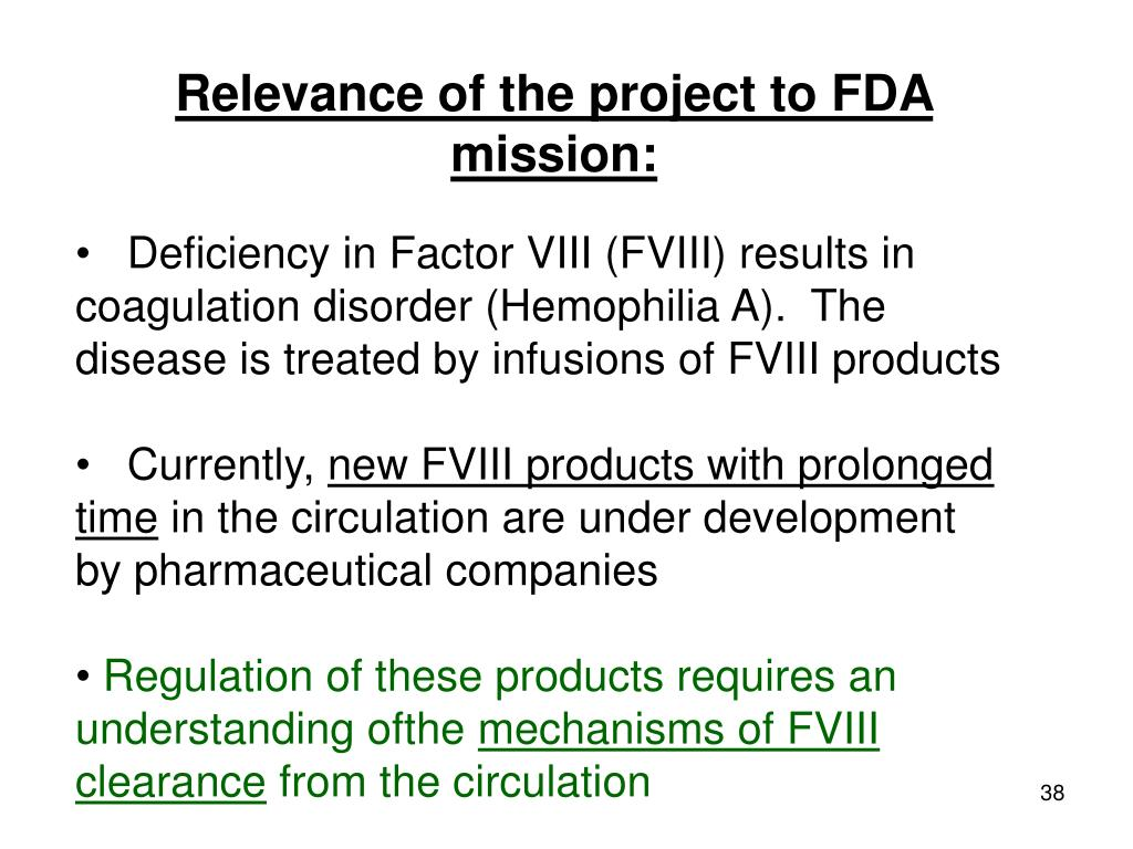 Relevance of the project to FDA mission: