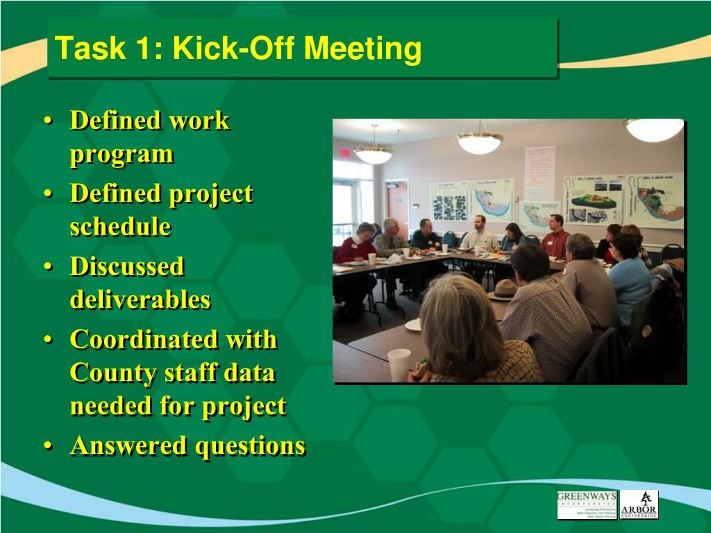 Task 1: Kick-Off Meeting