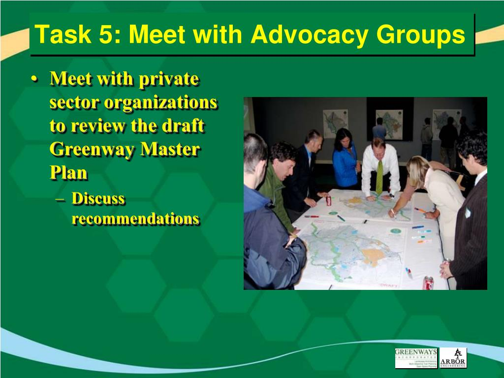 Task 5: Meet with Advocacy Groups