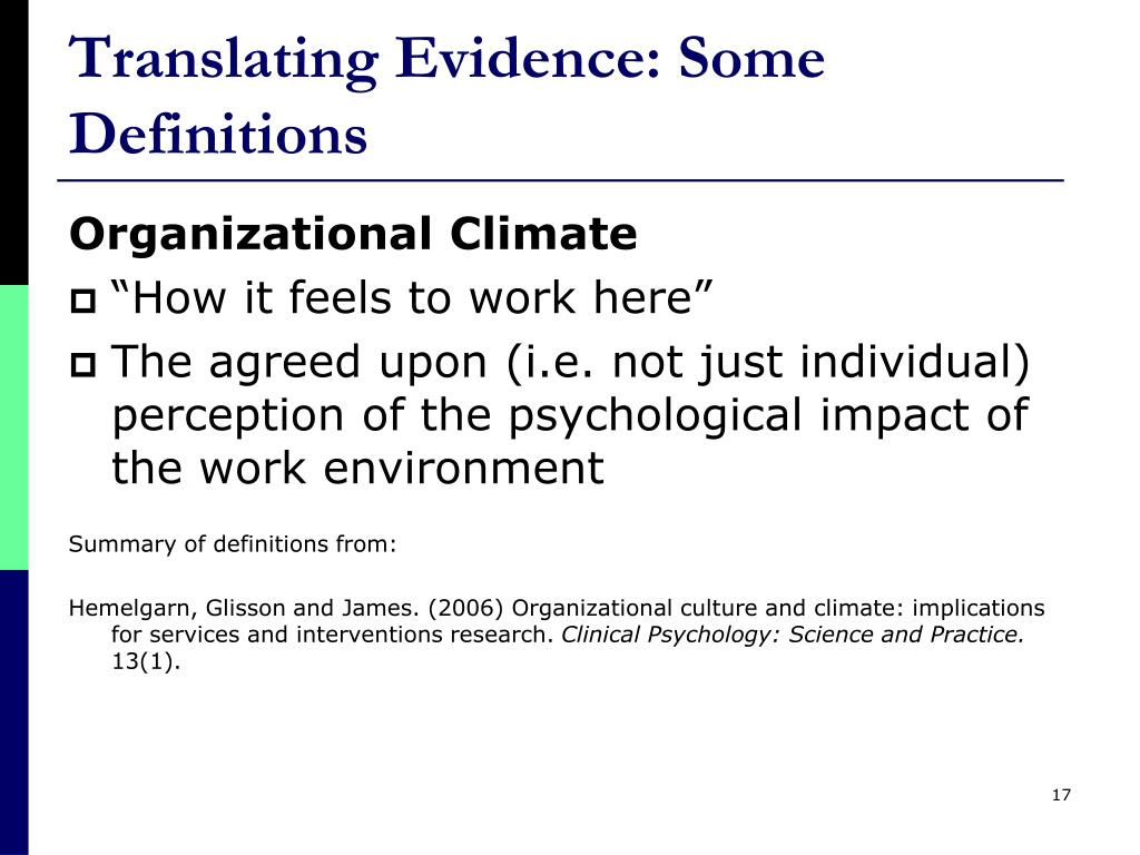 Translating Evidence: Some Definitions