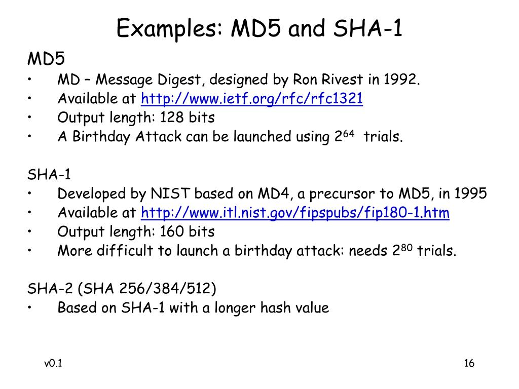 Examples: MD5 and SHA-1