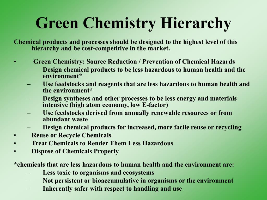 Green Chemistry Hierarchy