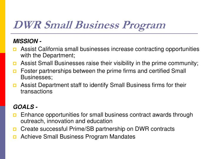Dwr small business program l.jpg