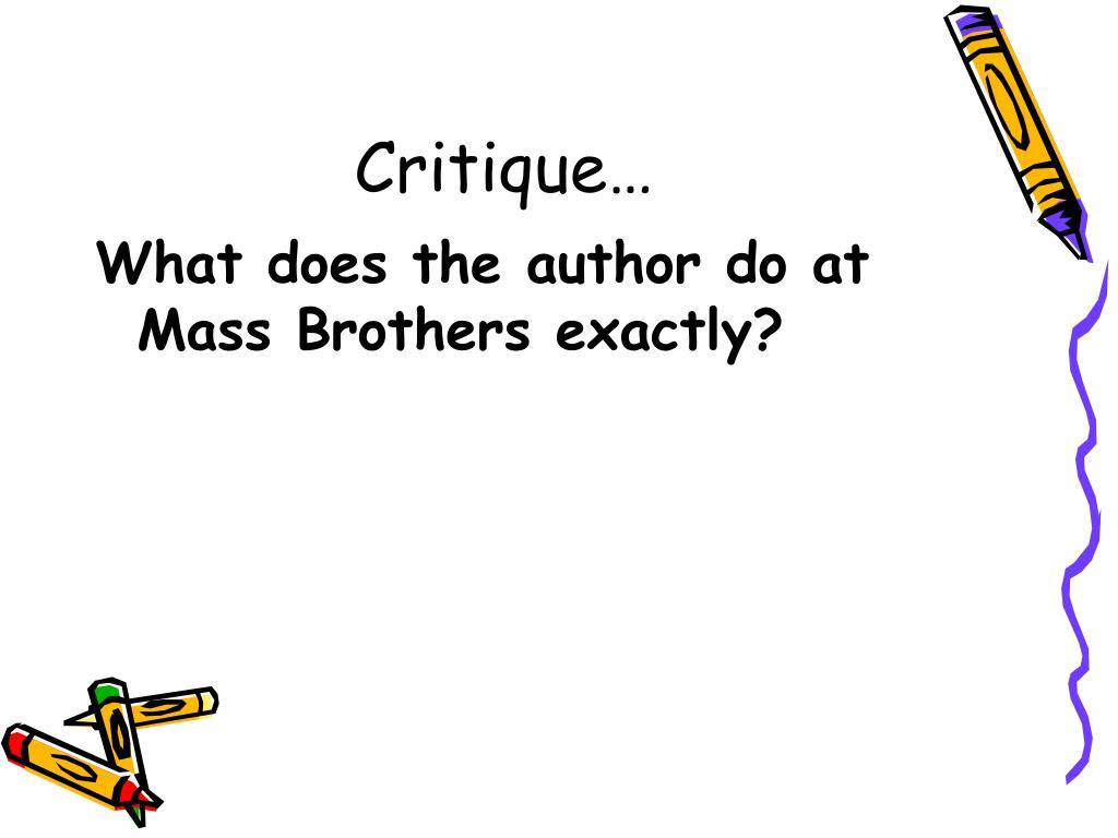 Critique…