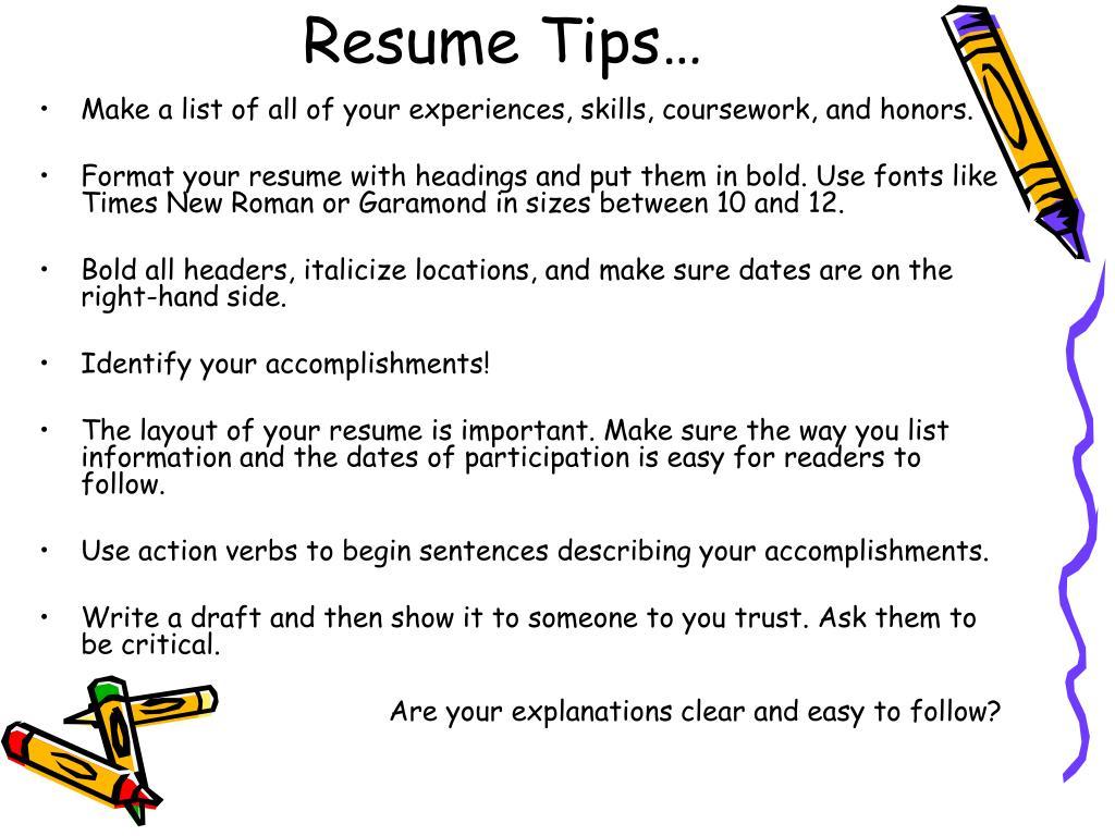 Resume Tips…