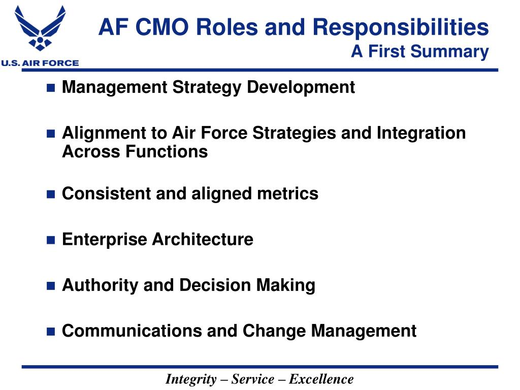 AF CMO Roles and Responsibilities