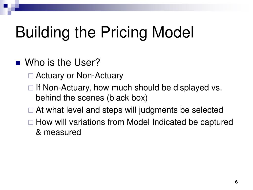 Building the Pricing Model