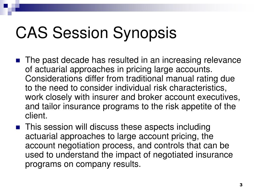 CAS Session Synopsis