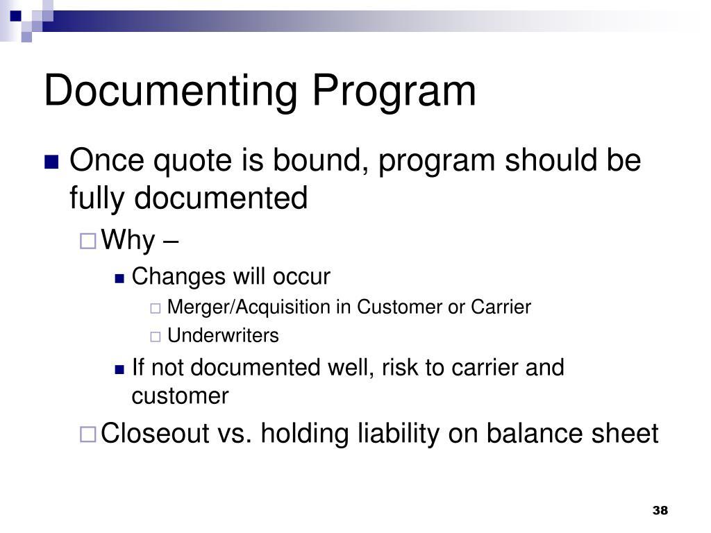 Documenting Program