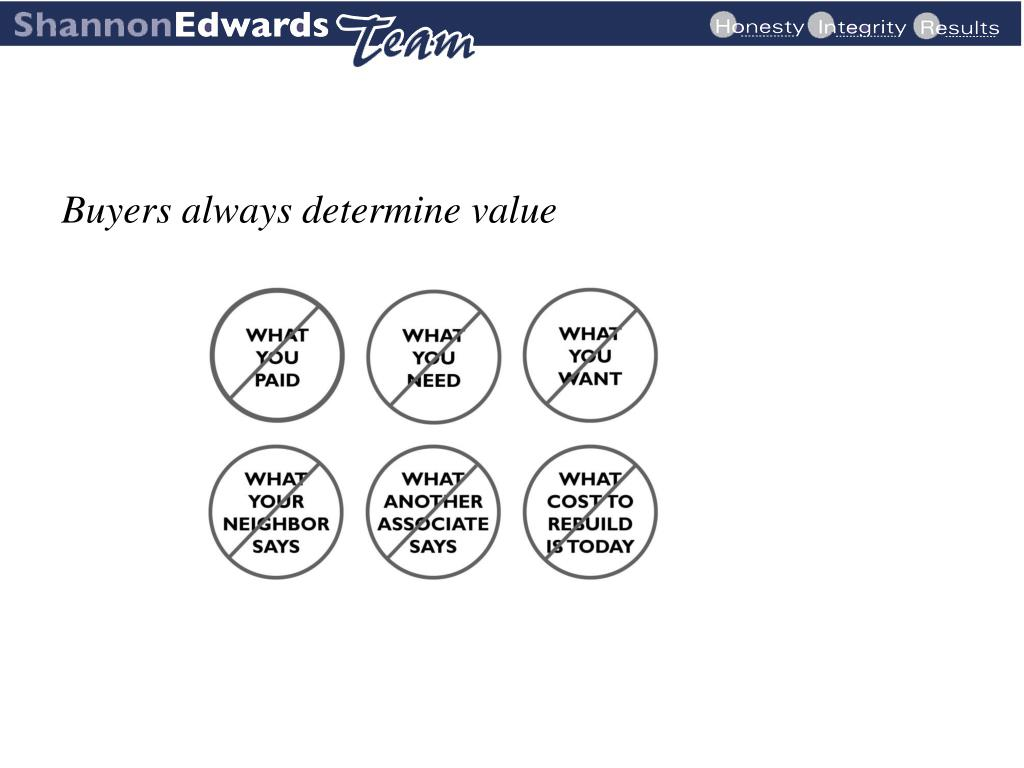 Buyers always determine value