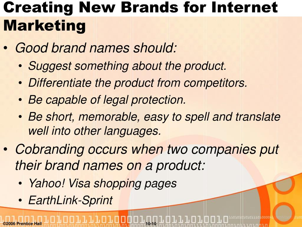 Creating New Brands for Internet Marketing