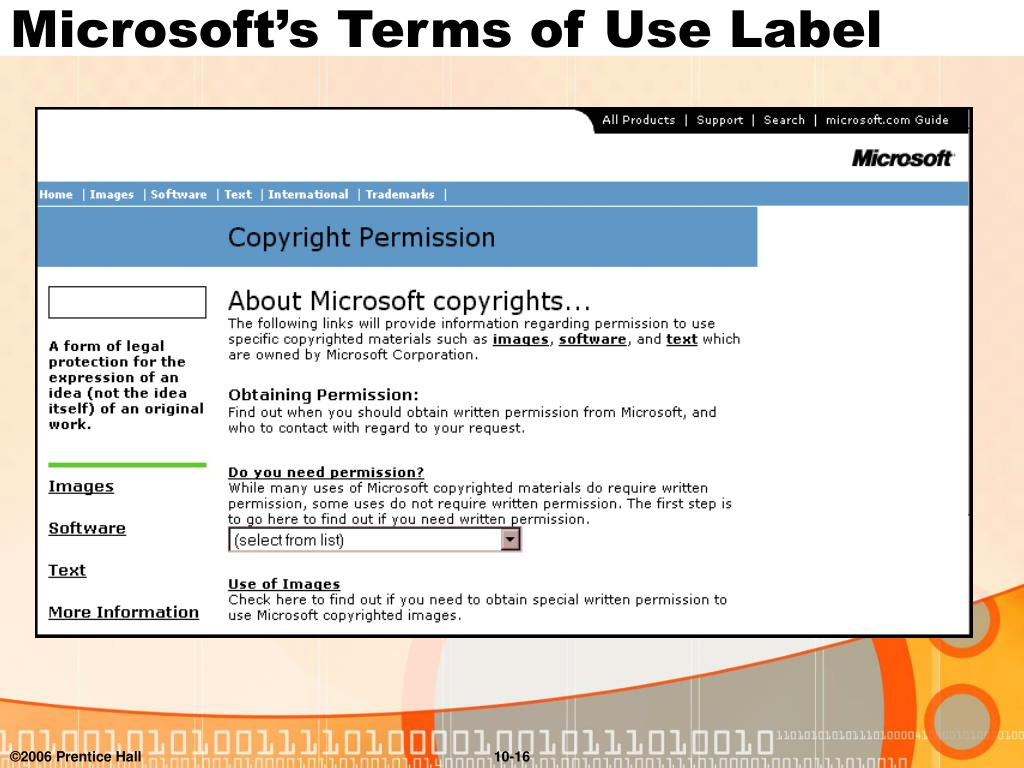 Microsoft's Terms of Use Label