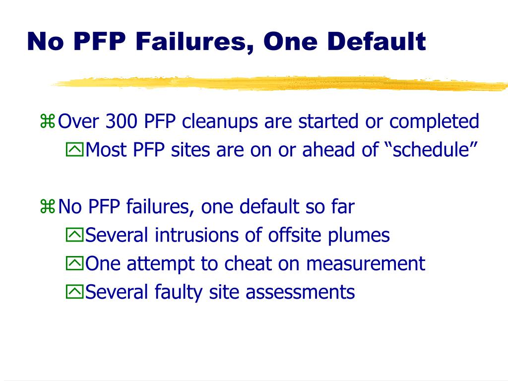 No PFP Failures, One Default