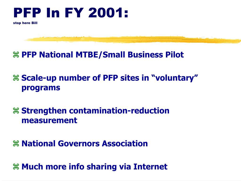 PFP In FY 2001:
