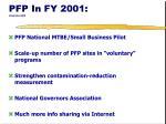 pfp in fy 2001 stop here bill