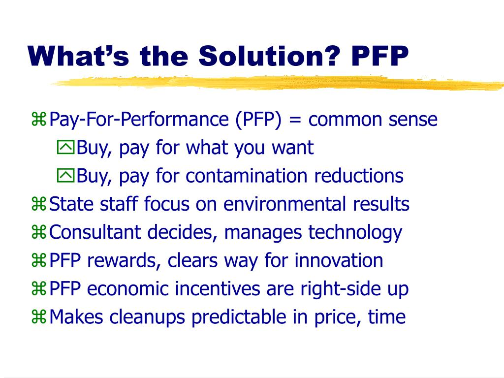 What's the Solution? PFP