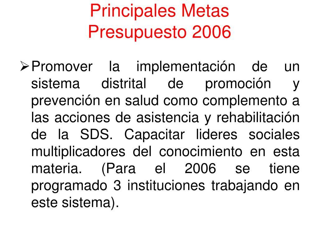 Principales Metas