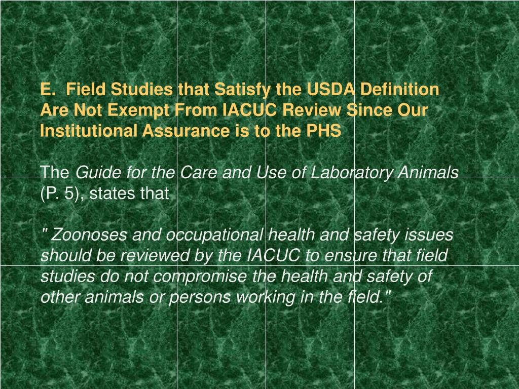 E.  Field Studies that Satisfy the USDA Definition Are Not Exempt From IACUC Review Since Our Institutional Assurance is to the PHS