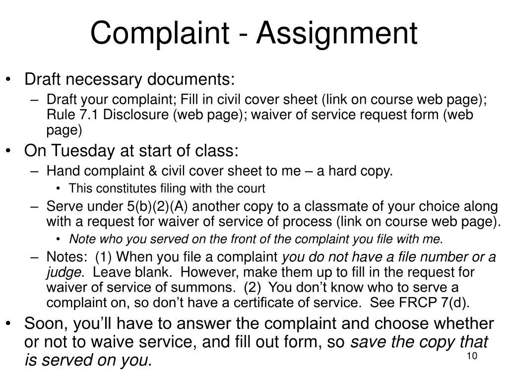 Complaint - Assignment