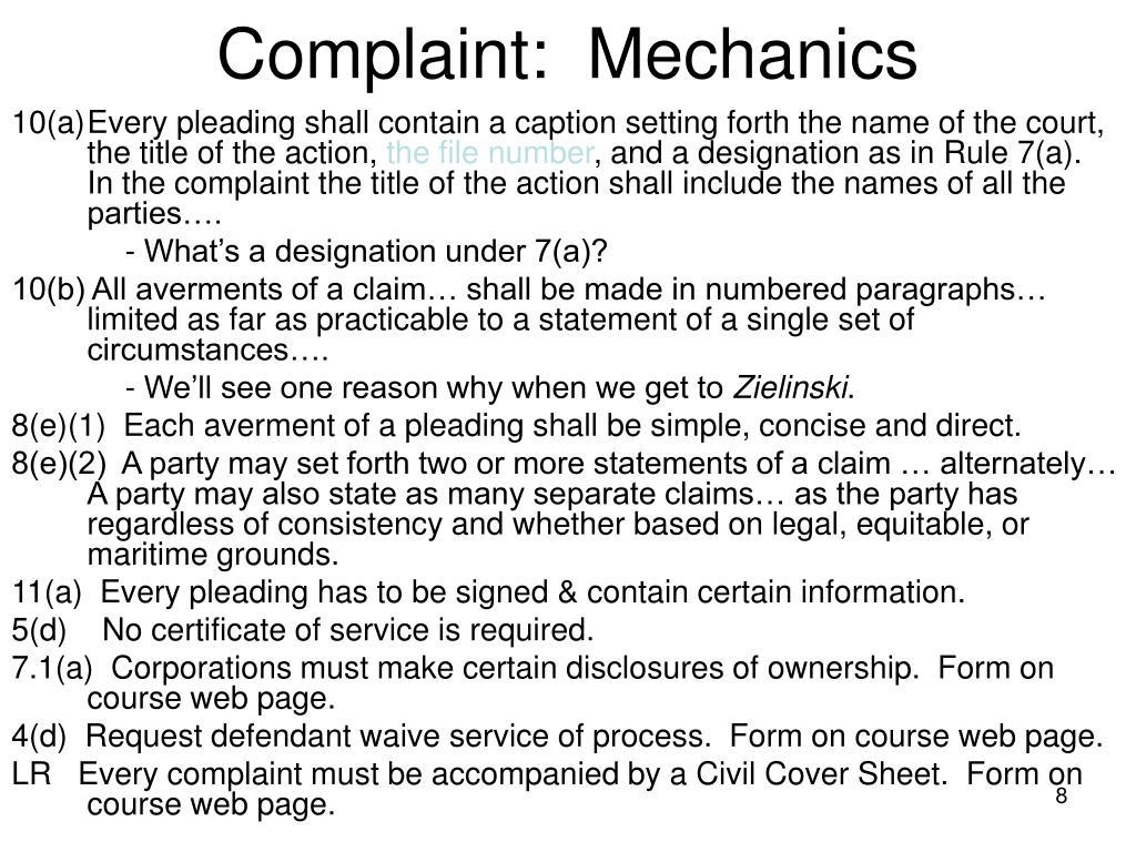 Complaint:  Mechanics