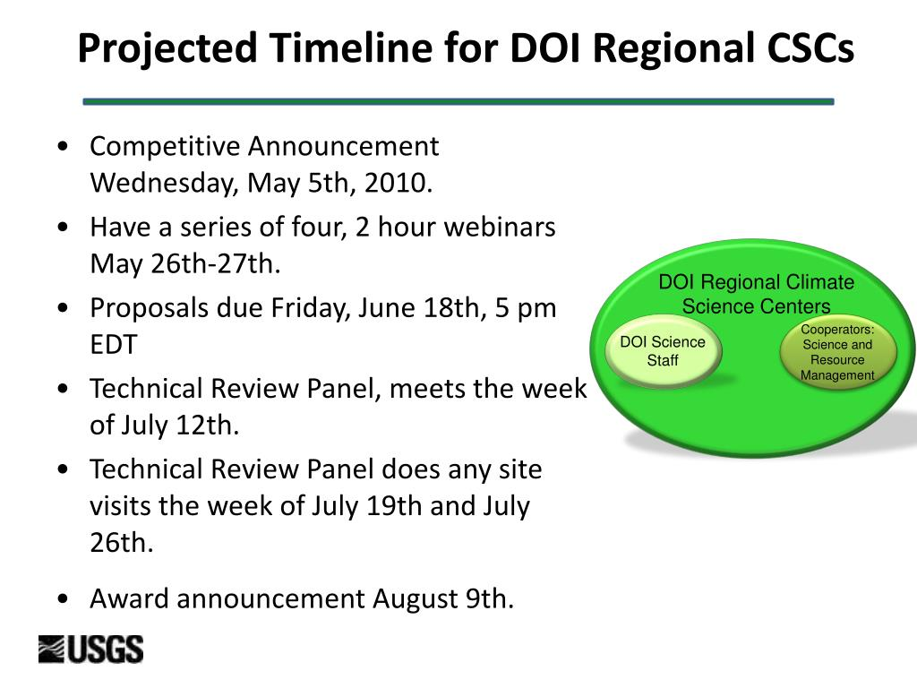 Projected Timeline for DOI Regional CSCs