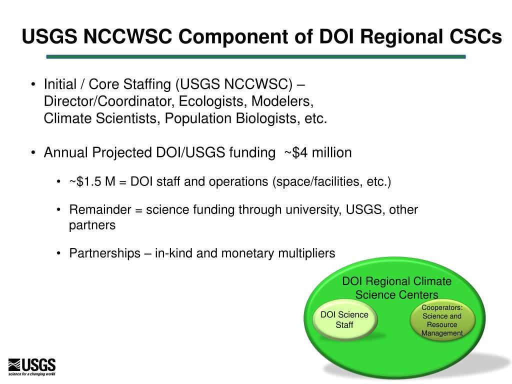 USGS NCCWSC Component of DOI Regional CSCs