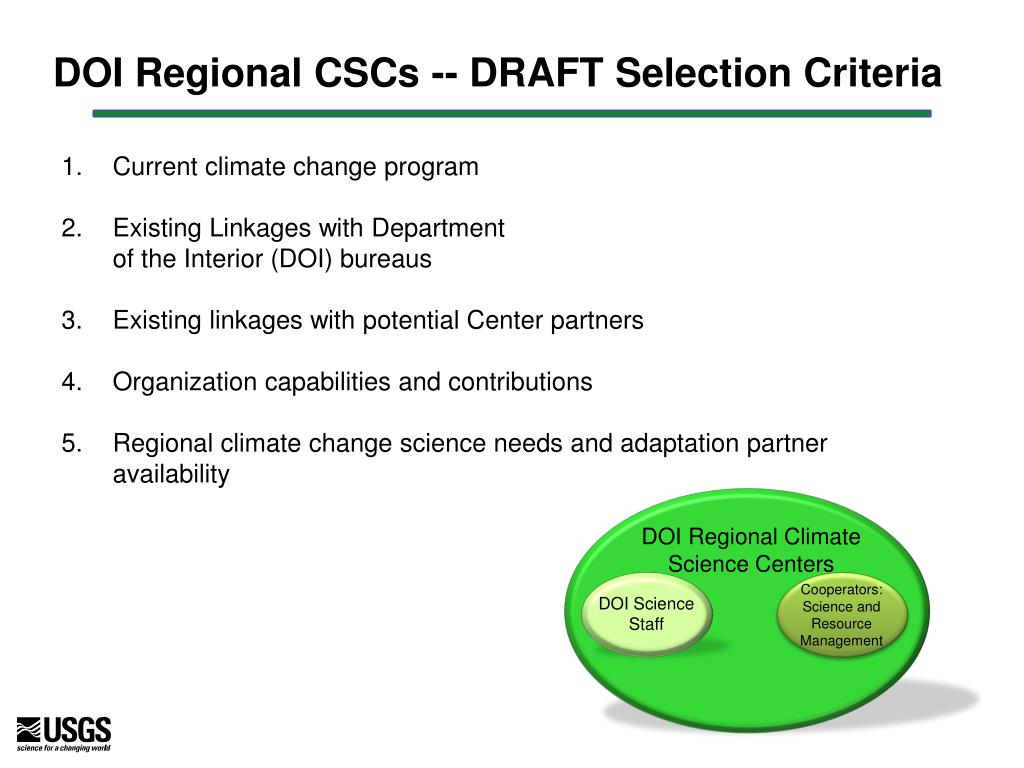 DOI Regional CSCs -- DRAFT Selection Criteria
