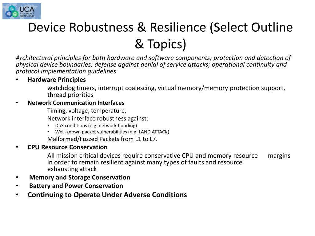 Device Robustness & Resilience (Select Outline & Topics)
