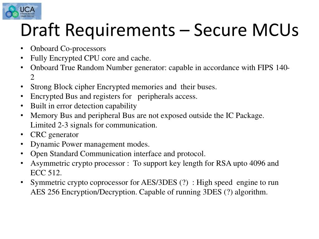 Draft Requirements – Secure MCUs