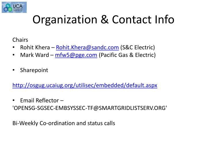 Organization contact info