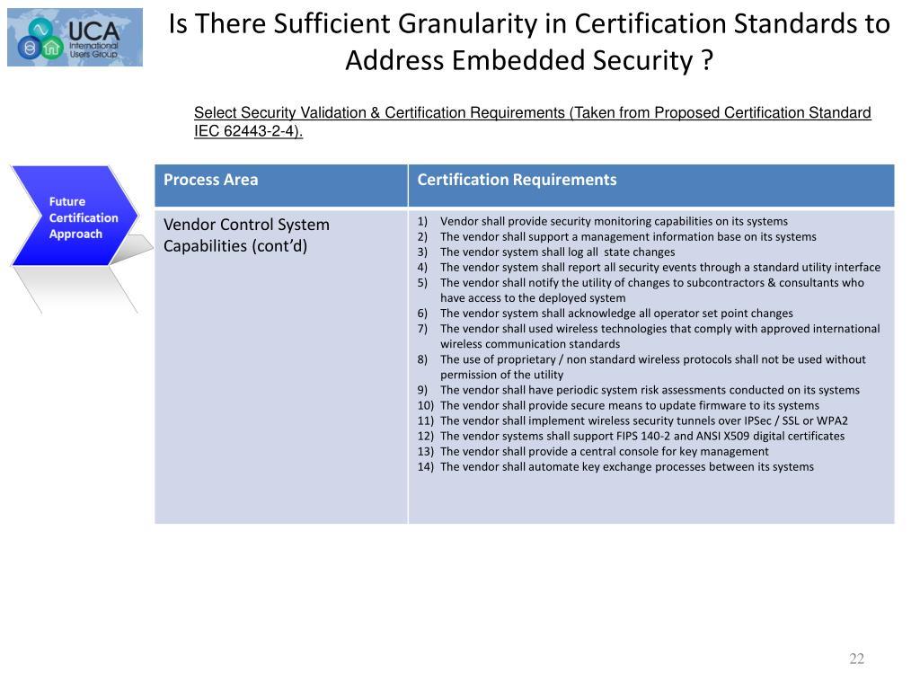 Certification Cont'd