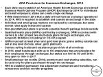 aca provisions for insurance exchanges 2014