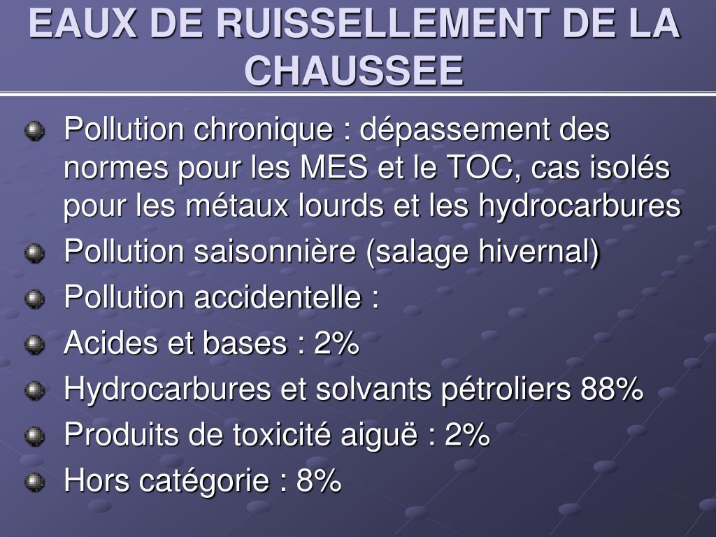 EAUX DE RUISSELLEMENT DE LA CHAUSSEE