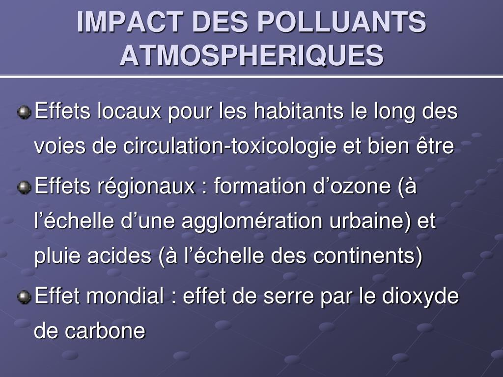 IMPACT DES POLLUANTS ATMOSPHERIQUES