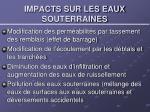 impacts sur les eaux souterraines