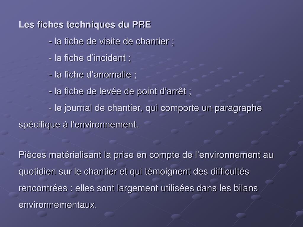 Les fiches techniques du PRE